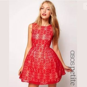 Asos Dress SZ 0P Cut Out Back Fit Flare Lace NWT